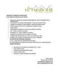 REQUISITOS SOLICITANTE PROGRAMA 2015