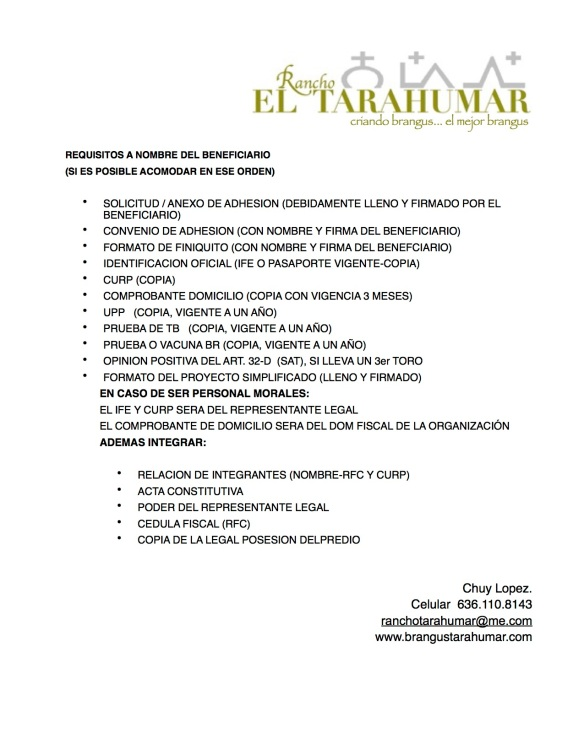 REQUISITOS SOLICITANTE PROGRAMA 2015